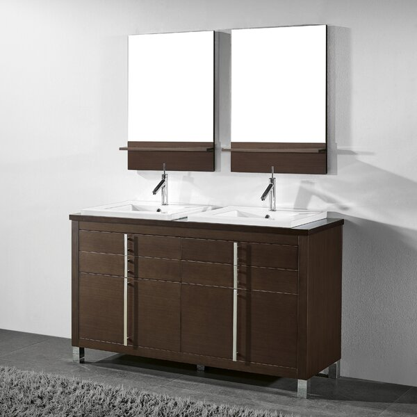 Turin 60 Double Bathroom Vanity Set with Mirror by Adornus