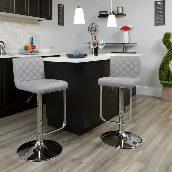 Novello Adjustable Height Swivel Bar Stool by Orren Ellis