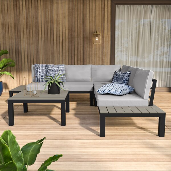 Claunch 4 Piece Sectional Seating Group with Cushions by Mercury Row