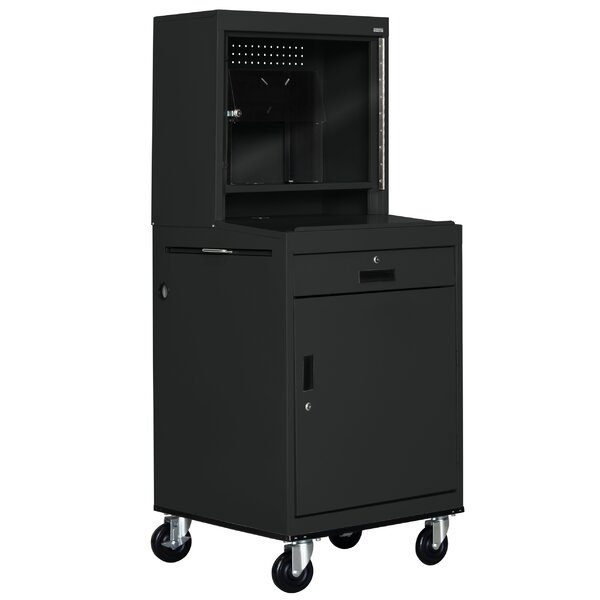 Mobile Computer Security Workstation AV Cart with Doors by Sandusky Cabinets