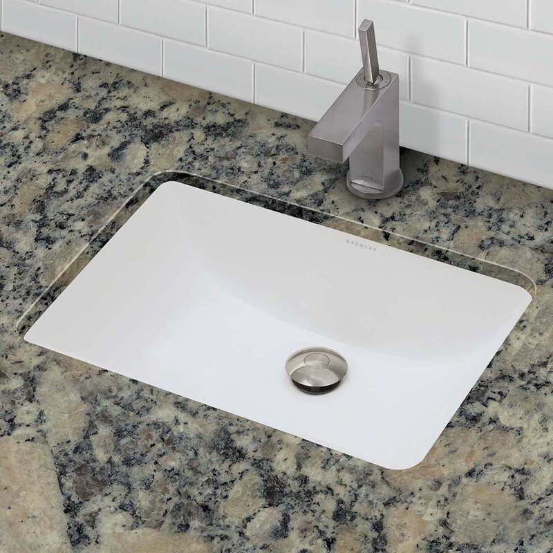 DECOLAV Callensia Classic Rectangular Undermount Bathroom Sink - Bathroom drain