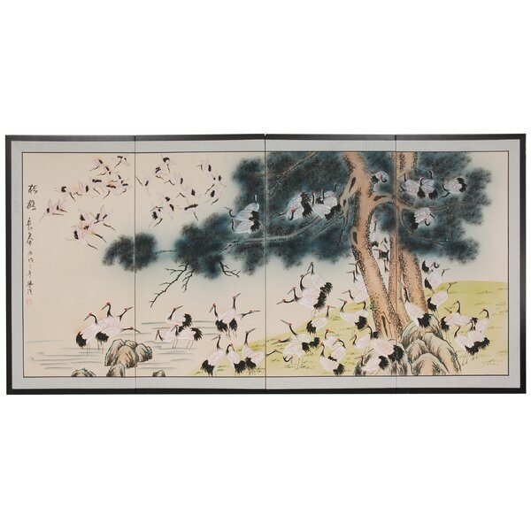 Rowles Hundred Cranes 4 Panel Room Divider By Bloomsbury Market