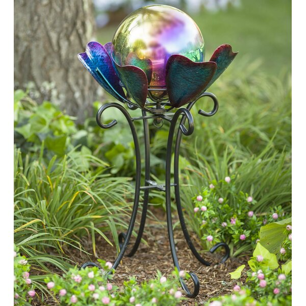 Spinning Petals Gazing Globe Stand by Plow & Hearth