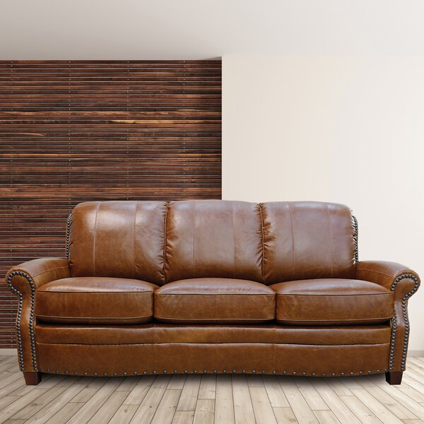 Best Price For Halliburton Leather Sofa by Alcott Hill by Alcott Hill