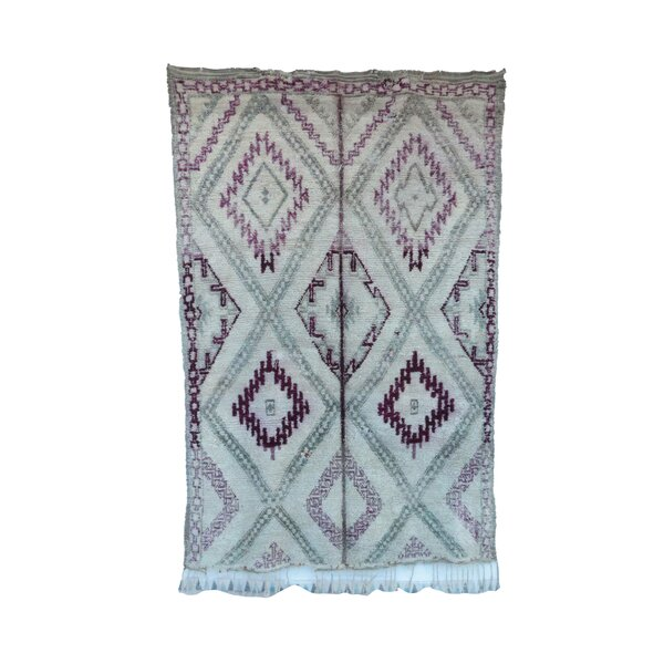 One-of-a-Kind Beni Ourain Moroccan Hand-Knotted Wool Purple/Aqua Area Rug by Indigo&Lavender