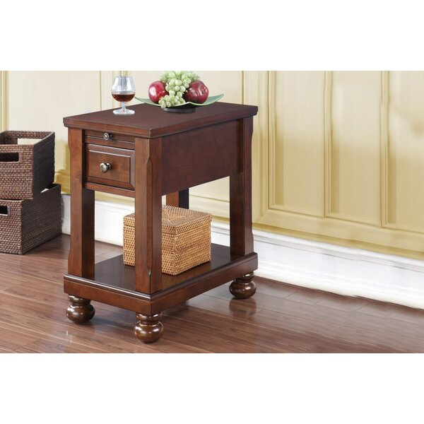 Seger Chair End Table with Power Outlet by Alcott Hill