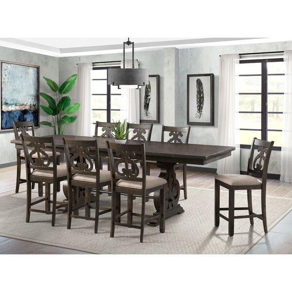 Hot Springs 9 Piece Counter Height Extendable Dining Set by Three Posts