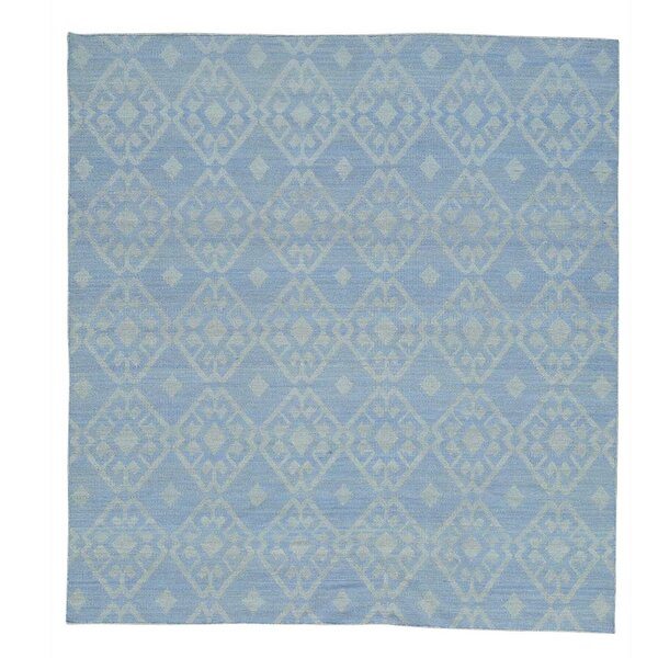 One-of-a-Kind Flat Weave Reversible Durie Kilim Hand-Knotted Sky Blue/Ivory Area Rug by Bungalow Rose