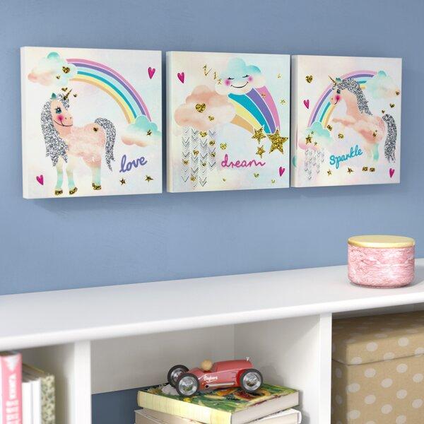 Unicorn Glitter Set of Three on Canvas by Harriet Bee