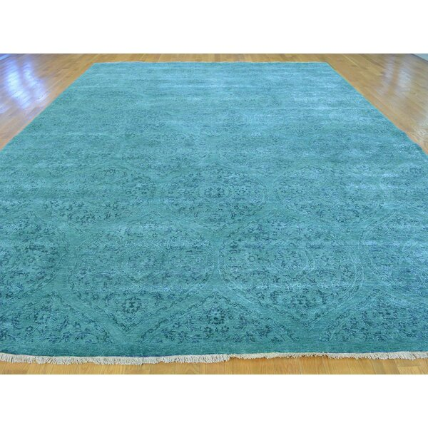 One-of-a-Kind Brechin Mughal Design Dense Weave Handwoven Teal Wool/Silk Area Rug by Isabelline