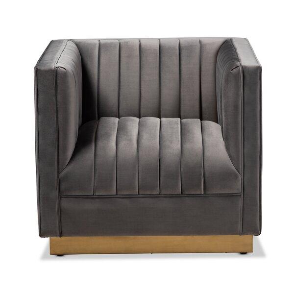 Whitesell Glam and Luxe Velvet Fabric Upholstered Armchair by Mercer41