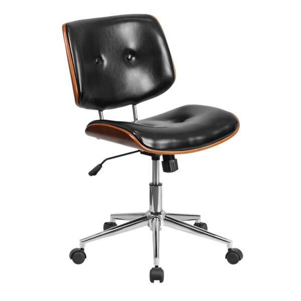 Ronin Ergonomic Wood Swivel Mid-Back Leather Desk Chair by George Oliver
