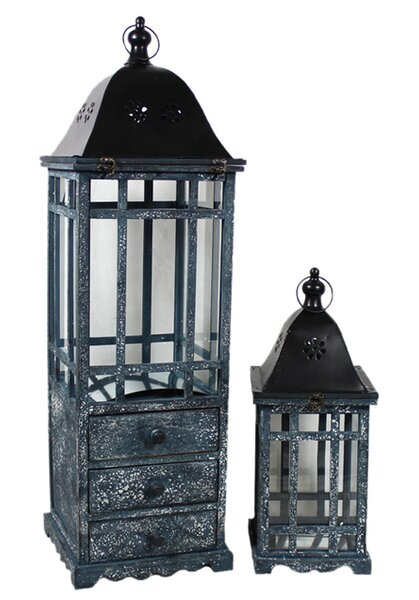 Modesto 2 Piece Glass/Wood Lantern Set by ESSENTIAL DÉCOR & BEYOND, INC