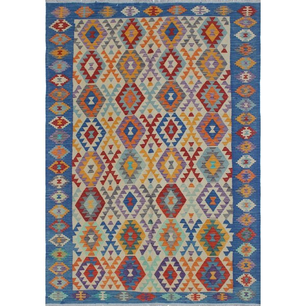 Rucker Kilim Hand Woven Wool Rectangle Beige/Blue Area Rug by Bungalow Rose