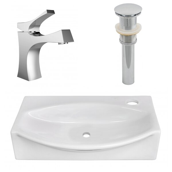 Ceramic 12 Wall Mount Bathroom Sink with Faucet by American Imaginations