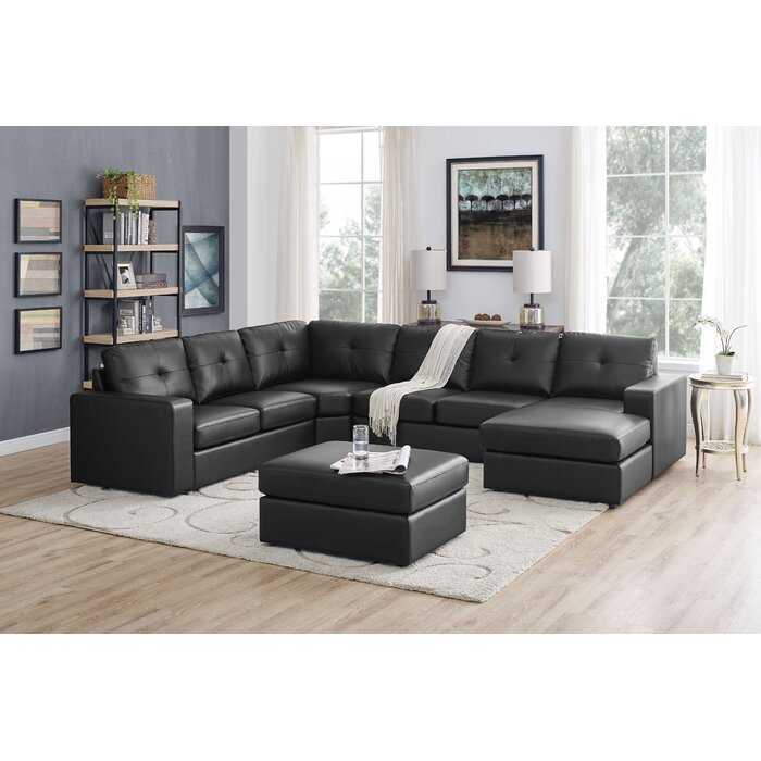 Auton 5 Seater Right Hand Facing Sectional Sofa With Ottoman