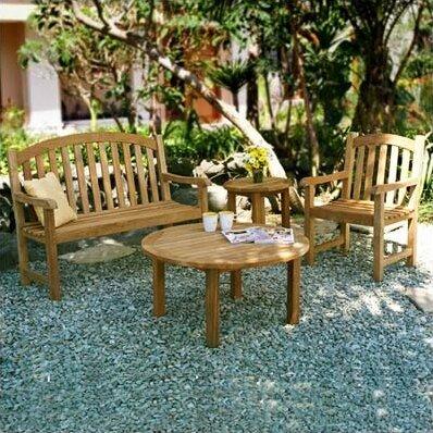 Victoria 4 Piece Teak Sunbrella Conversation Set with Cushions by Three Birds Casual