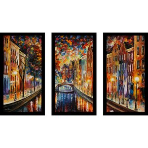 Amsterdam, Night Canal by Leonid Afremov 3 Piece Framed Painting Print Set by Picture Perfect International