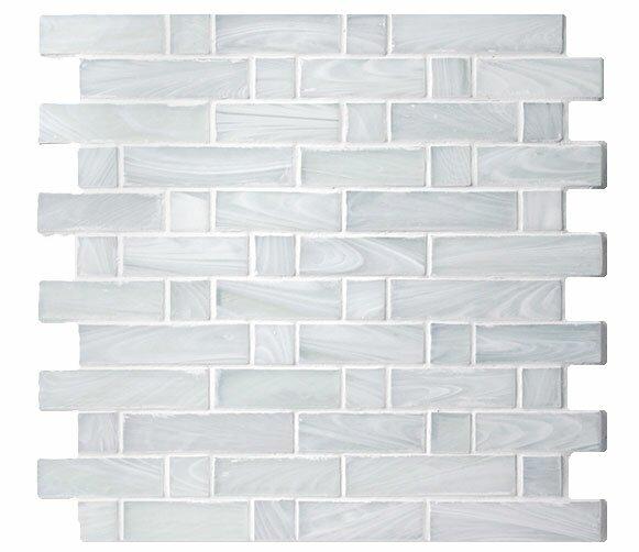 Homespun Flannel Dorset Random Sized Glass Mosaic Tile in White by Avenue Mosaic