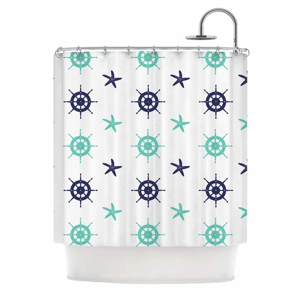 Afe Images Helm Wheel and Starfish Illustration Shower Curtain by East Urban Home