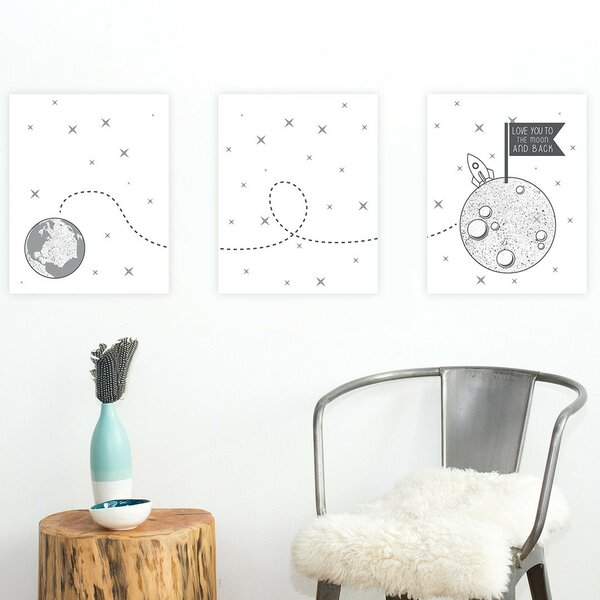 3 Piece Love You to the Moon and Back Paper Print Set by Children Inspire Design