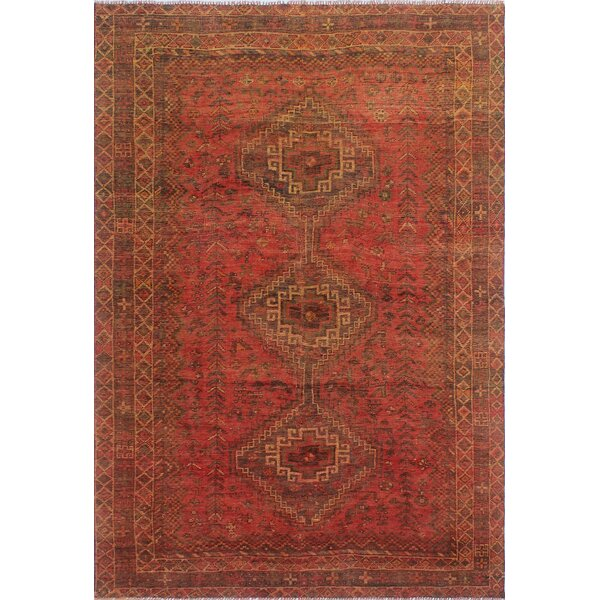 One-Of-A-Kind Brook Hand-Knotted Wool Orange Area Rug by Isabelline