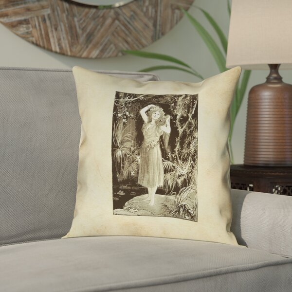 Aridas Vintage Forest Girl Outdoor Throw Pillow by Bloomsbury Market
