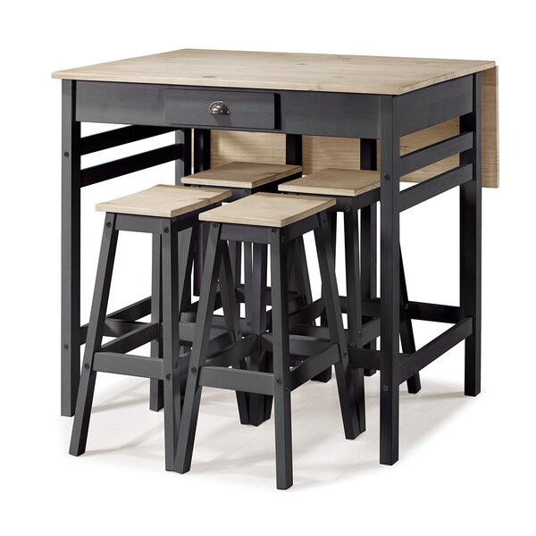 Tarter Folding 5 Piece Adjustable Pub Table Set by Gracie Oaks