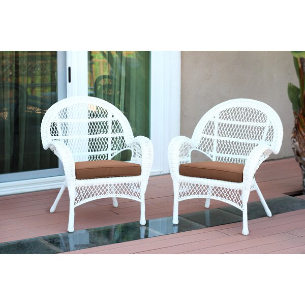 Maltby Wicker Patio Chair with Cushions (Set of 2) by Ophelia & Co.