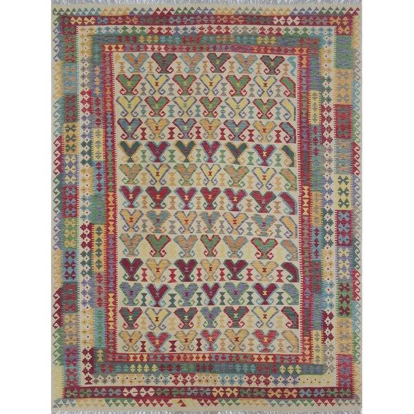 Vallejo Kilim Adeib Hand-Woven Wool Ivory Area Rug by Loon Peak