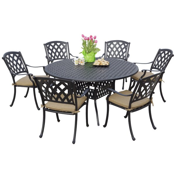 Campton Contemporary 7 Piece Dining Set with Cushion by Fleur De Lis Living