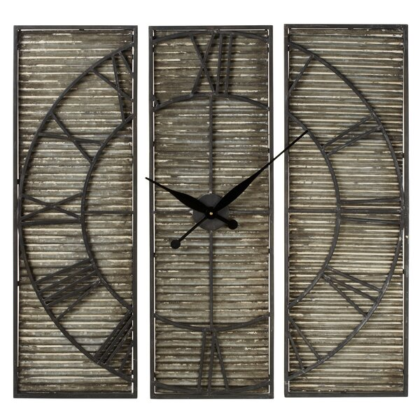 Oversized Albinson Corrugated Galvanized Panel 3 Piece Wall Clock Set by Gracie Oaks