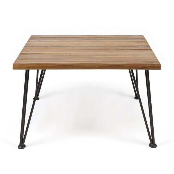 Hansell Outdoor Industrial Wooden Coffee Table by Williston Forge