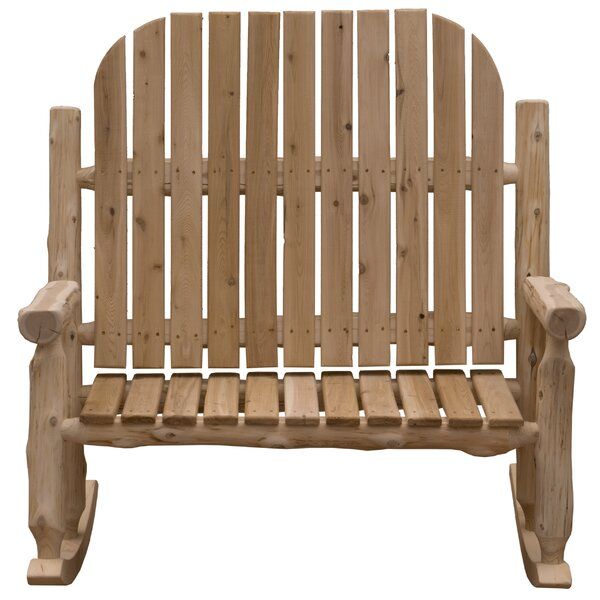 Mabe Two-Person Solid Wood Rocking Adirondack Chair by Millwood Pines Millwood Pines