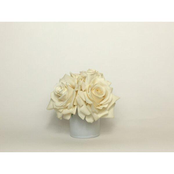 Artificial Silk Roses Floral Arrangement in Decorative Vase by Mercer41