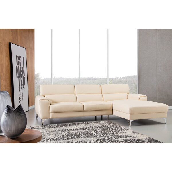 Reign Right Hand Facing Leather Sectional by Orren Ellis