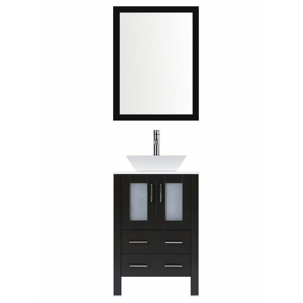 Modern 24 Single Bathroom Vanity Set with Mirror by LessCare