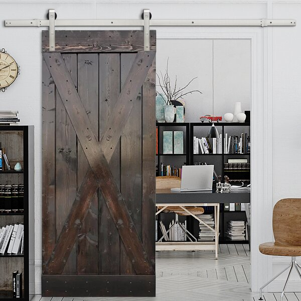 Solid Wood Panelled Pine Slab Interior Barn Door by Calhome