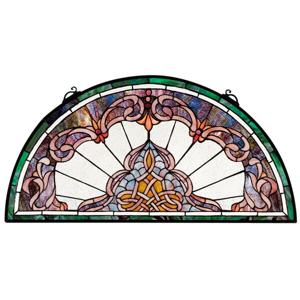 Lady Astor Demi Lune Stained Glass Window Panel by Design Toscano