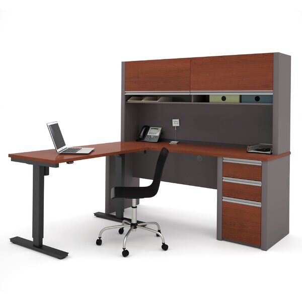 Karla L-Shape Desk Office Suite with Hutch by Latitude Run