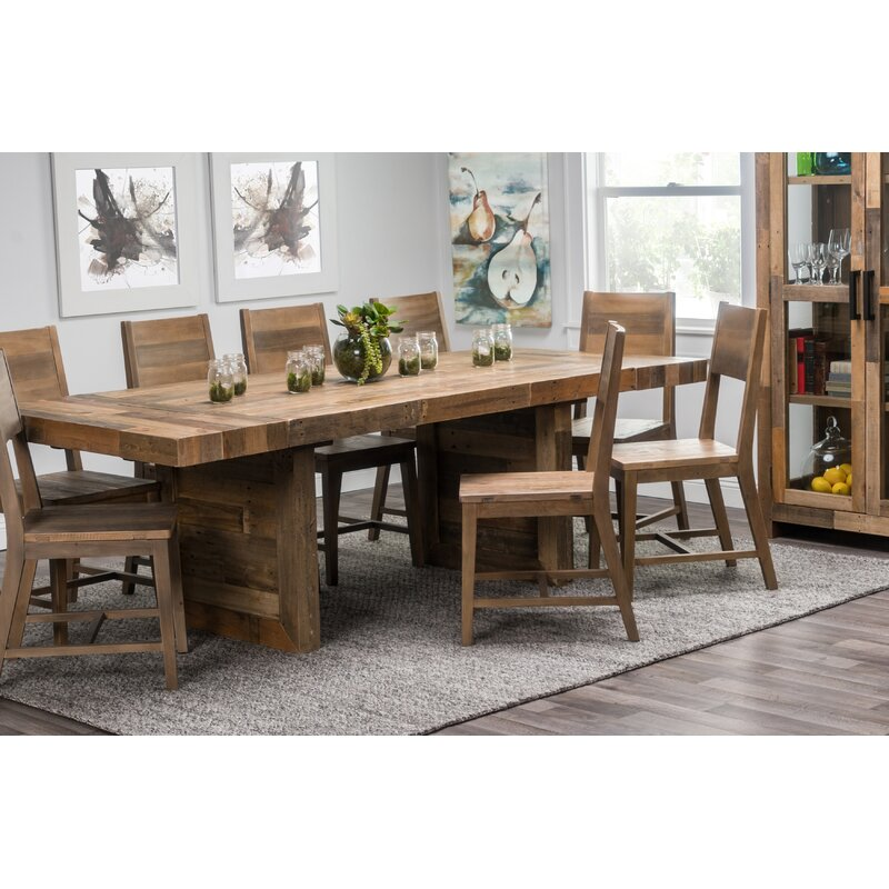 Extendable Dining Set In Rustic Brushed Solid Oak: Norman Extendable Solid Wood Dining Table & Reviews