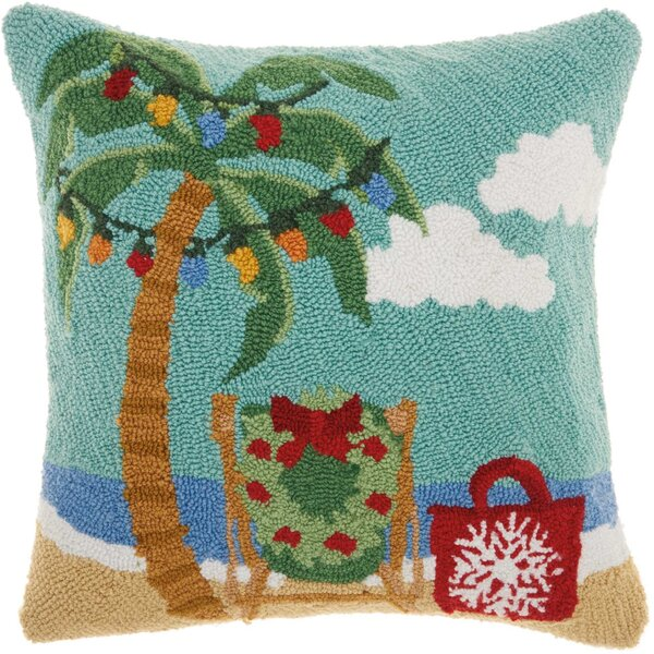 Leboeuf Festive Palm Tree Wool Throw Pillow by The Holiday Aisle
