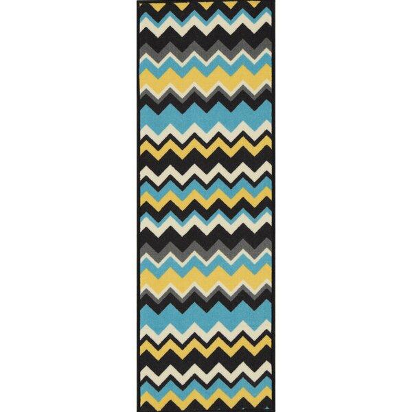 Barry Chevron Waves Blue/Yellow Area Rug by Viv + Rae
