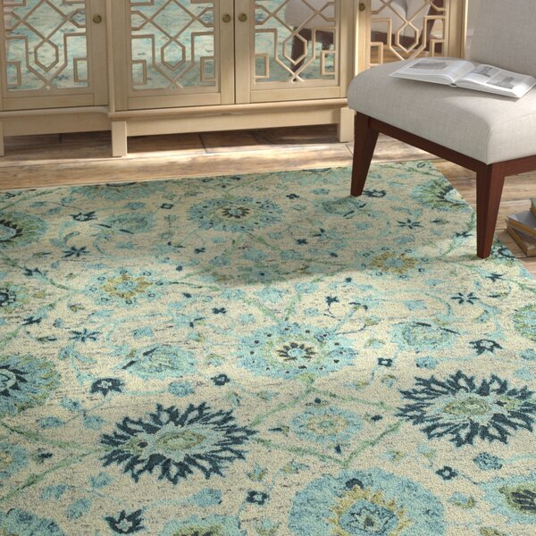 Toshiro Hand Tufted Wool Turquoise Area Rug by Bungalow Rose