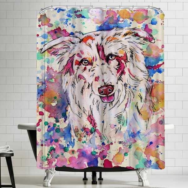 Eve Izzett Red Merle Collie Portrait Shower Curtain by East Urban Home