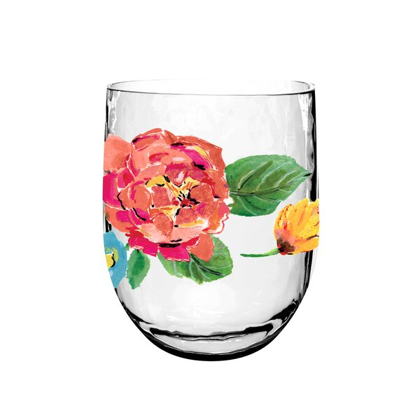 Leblanc Garden Floral Dof 14.6 oz. Acrylic Cocktail Glass (Set of 6) by Ophelia & Co.
