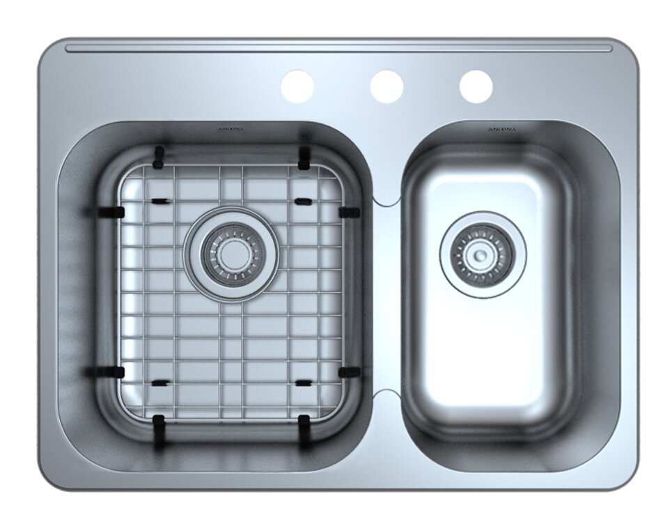 "ancona capri drop-in 27.1"" x 20.4"" double bowl kitchen sink with"