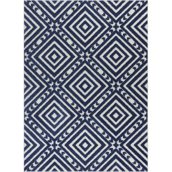 Dorado Metier Modern Geometric/Trellis High-Low Blue Indoor/Outdoor Area Rug by Well Woven