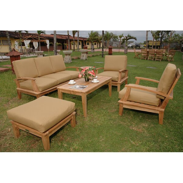 Bourgoin 5 Piece Teak Sofa Seating Group with Sunbrella Cushions by Freeport Park