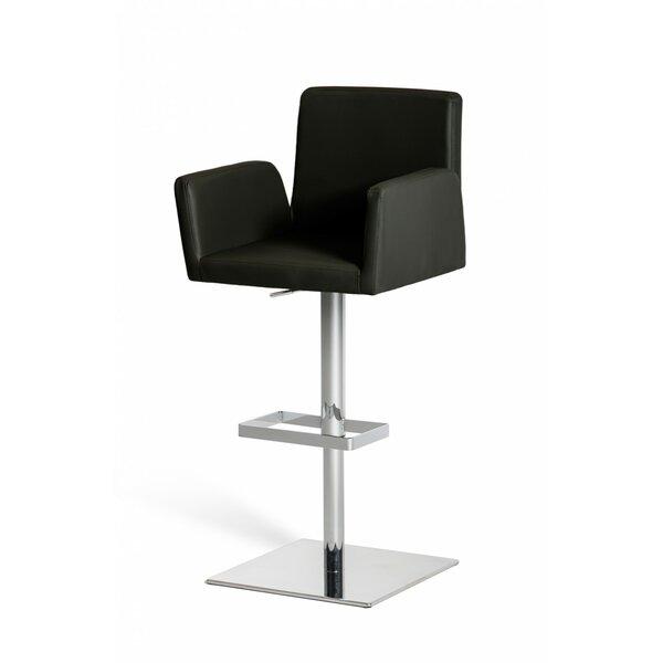Clower Adjustable Height Upholstered Swivel Bar Stool with Footrest by Orren Ellis